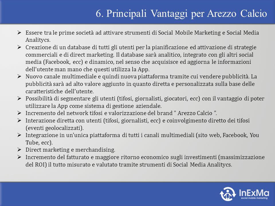 6. Principali Vantaggi per Arezzo Calcio Essere tra le prime società ad attivare strumenti di Social Mobile Marketing e Social Media Analitycs. Creazi