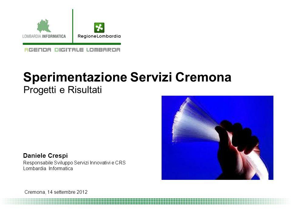 Sperimentazione Servizi Cremona Progetti e Risultati Cremona, 14 settembre 2012 Daniele Crespi Responsabile Sviluppo Servizi Innovativi e CRS Lombardia Informatica