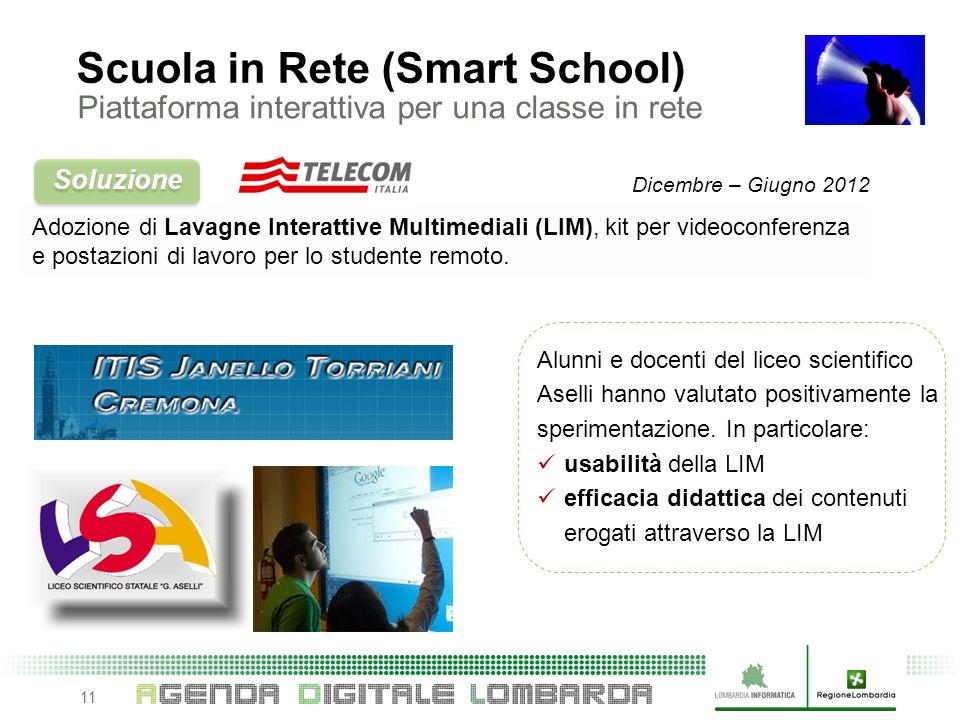 11 Adozione di Lavagne Interattive Multimediali (LIM), kit per videoconferenza e postazioni di lavoro per lo studente remoto.