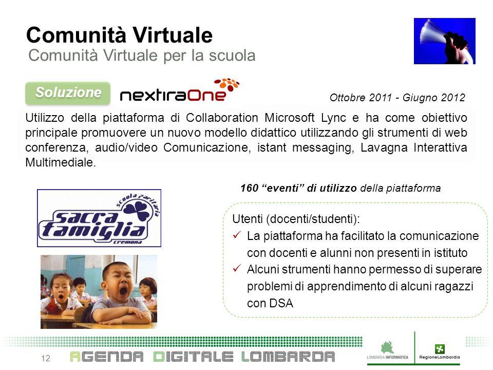 12 Utilizzo della piattaforma di Collaboration Microsoft Lync e ha come obiettivo principale promuovere un nuovo modello didattico utilizzando gli strumenti di web conferenza, audio/video Comunicazione, istant messaging, Lavagna Interattiva Multimediale.
