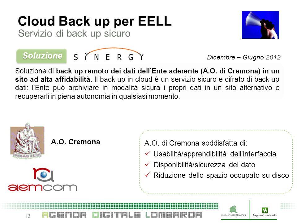 13 Soluzione di back up remoto dei dati dellEnte aderente (A.O.