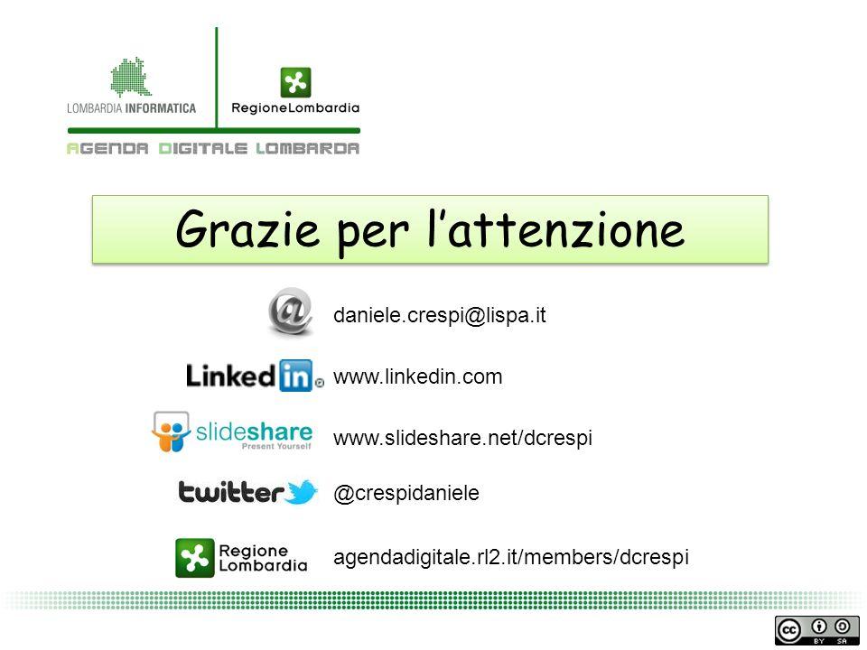 Grazie per lattenzione daniele.crespi@lispa.it www.slideshare.net/dcrespi www.linkedin.com agendadigitale.rl2.it/members/dcrespi @crespidaniele