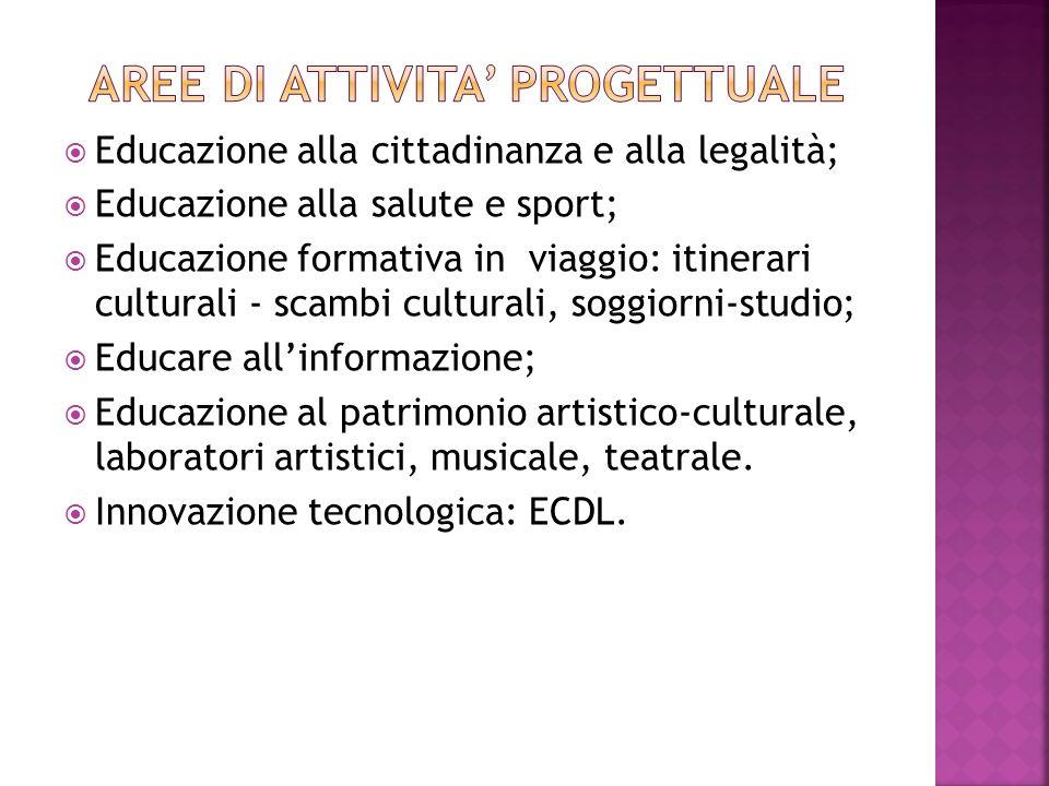 Educazione alla cittadinanza e alla legalità; Educazione alla salute e sport; Educazione formativa in viaggio: itinerari culturali - scambi culturali,