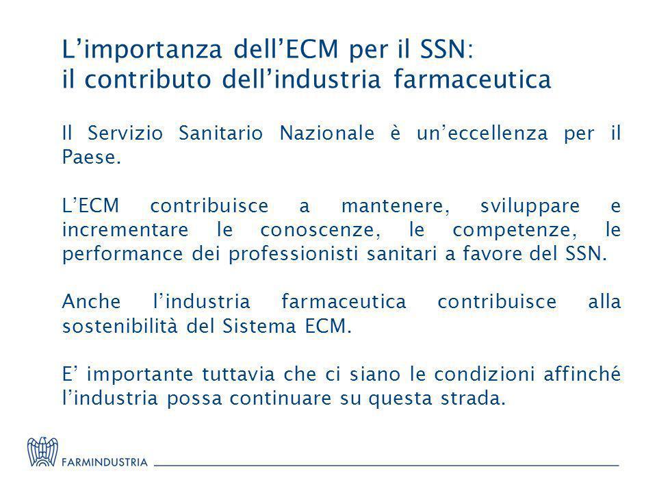 Limportanza dellECM per il SSN: il contributo dellindustria farmaceutica Il Servizio Sanitario Nazionale è uneccellenza per il Paese. LECM contribuisc