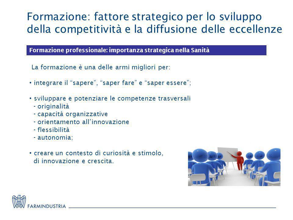 Formazione: fattore strategico per lo sviluppo della competitività e la diffusione delle eccellenze Formazione professionale: importanza strategica ne