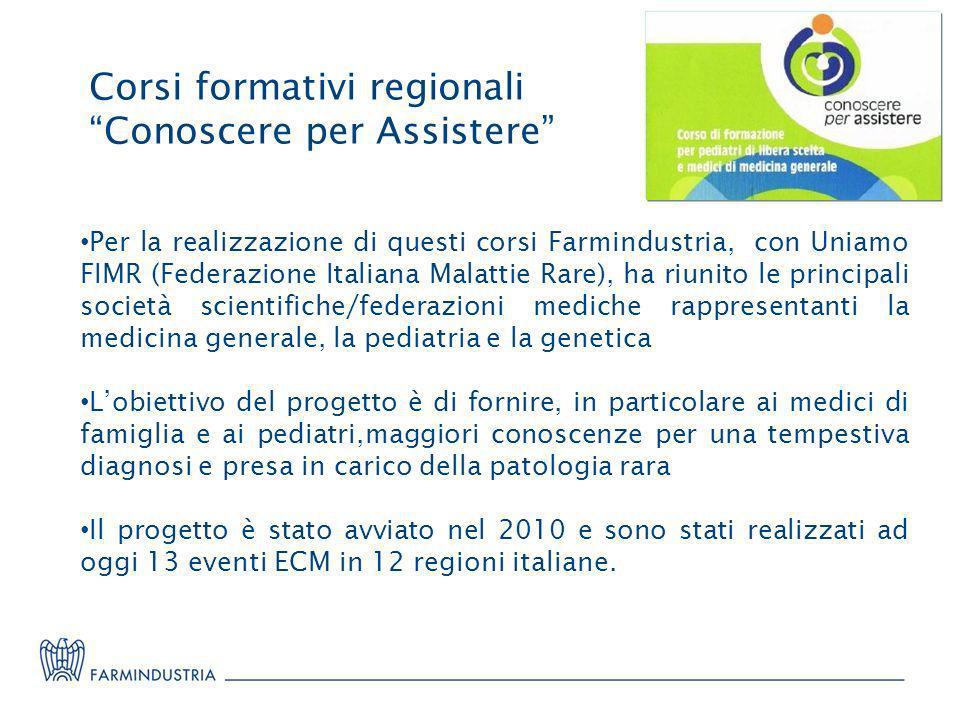 Corsi formativi regionali Conoscere per Assistere Per la realizzazione di questi corsi Farmindustria, con Uniamo FIMR (Federazione Italiana Malattie R