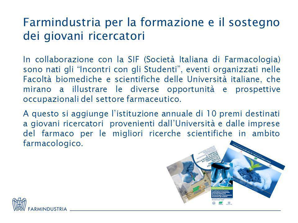 Farmindustria per la formazione e il sostegno dei giovani ricercatori In collaborazione con la SIF (Società Italiana di Farmacologia) sono nati gli In