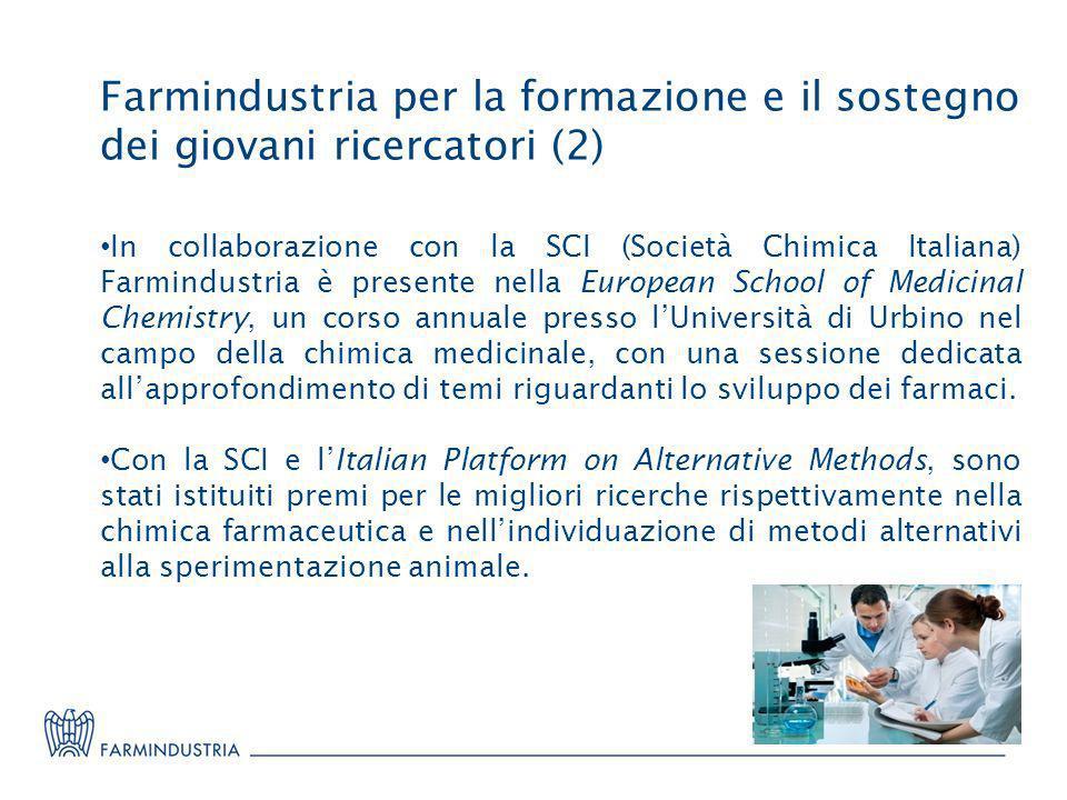 Farmindustria per la formazione e il sostegno dei giovani ricercatori (2) In collaborazione con la SCI (Società Chimica Italiana) Farmindustria è pres