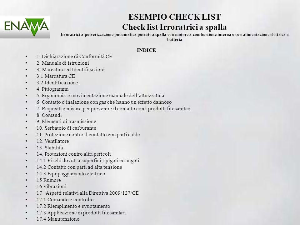 ESEMPIO CHECK LIST Check list Irroratrici a spalla Irroratrici a polverizzazione pneumatica portate a spalla con motore a combustione interna o con al