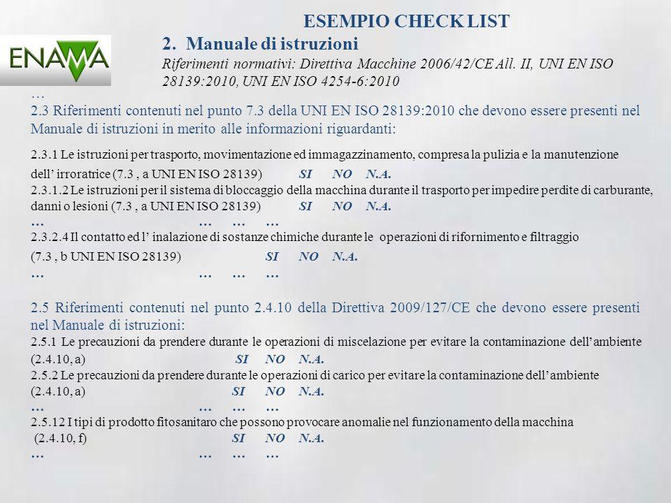 ESEMPIO CHECK LIST 2. Manuale di istruzioni Riferimenti normativi: Direttiva Macchine 2006/42/CE All. II, UNI EN ISO 28139:2010, UNI EN ISO 4254-6:201