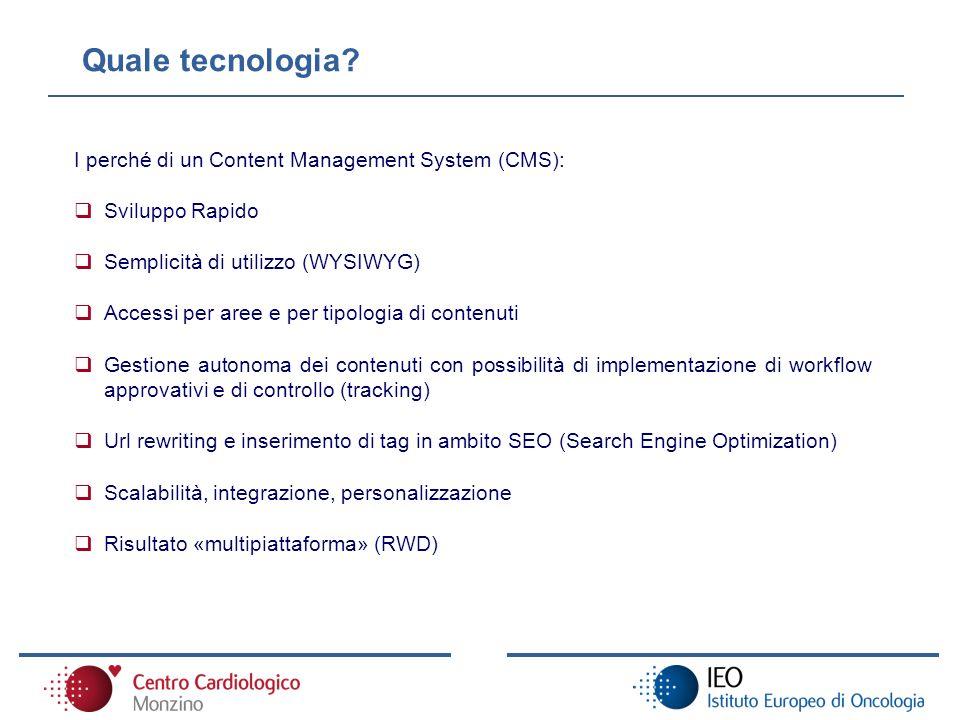 I perché di un Content Management System (CMS): Sviluppo Rapido Semplicità di utilizzo (WYSIWYG) Accessi per aree e per tipologia di contenuti Gestion