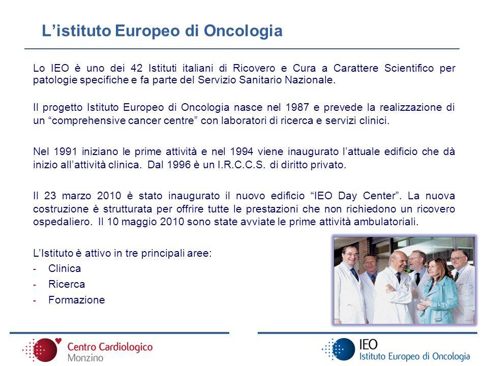 Listituto Europeo di Oncologia Lo IEO è uno dei 42 Istituti italiani di Ricovero e Cura a Carattere Scientifico per patologie specifiche e fa parte de