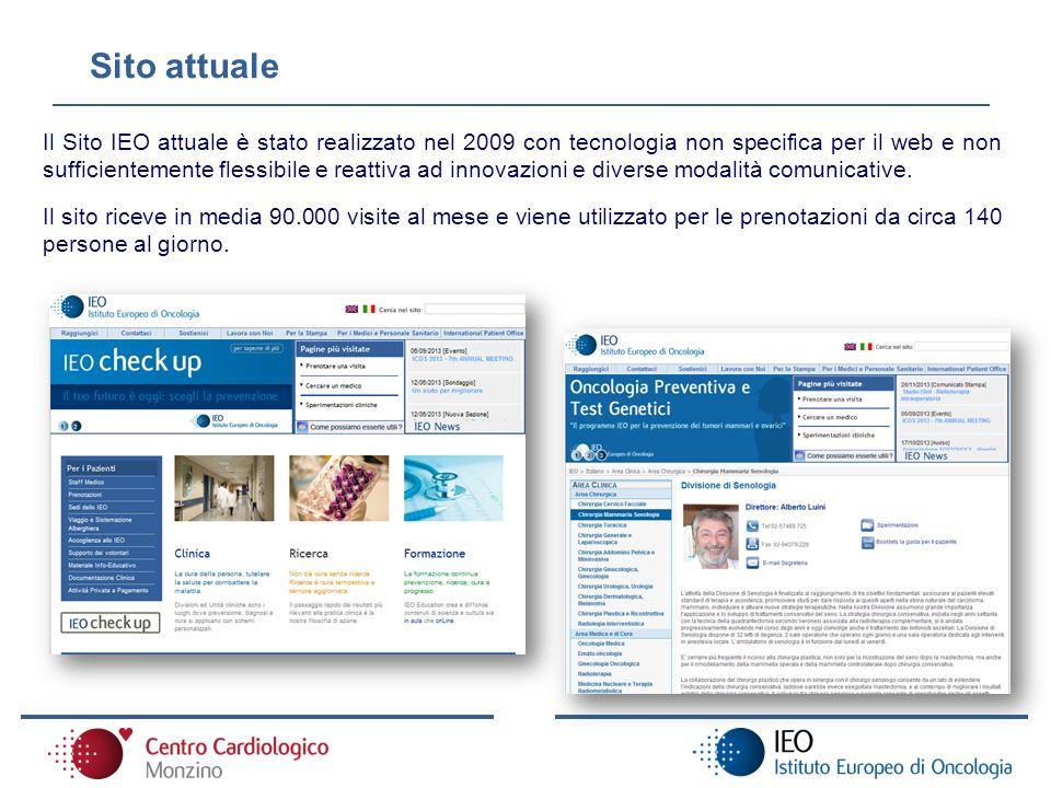 Sito attuale Il Sito IEO attuale è stato realizzato nel 2009 con tecnologia non specifica per il web e non sufficientemente flessibile e reattiva ad i