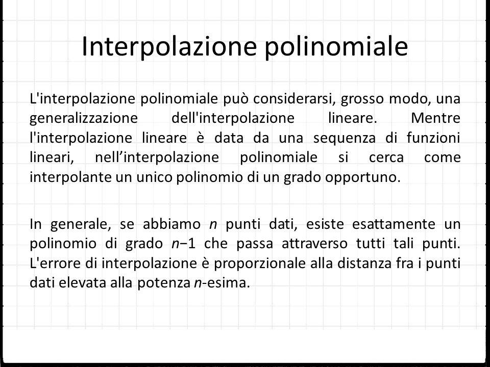 Interpolazione polinomiale L'interpolazione polinomiale può considerarsi, grosso modo, una generalizzazione dell'interpolazione lineare. Mentre l'inte
