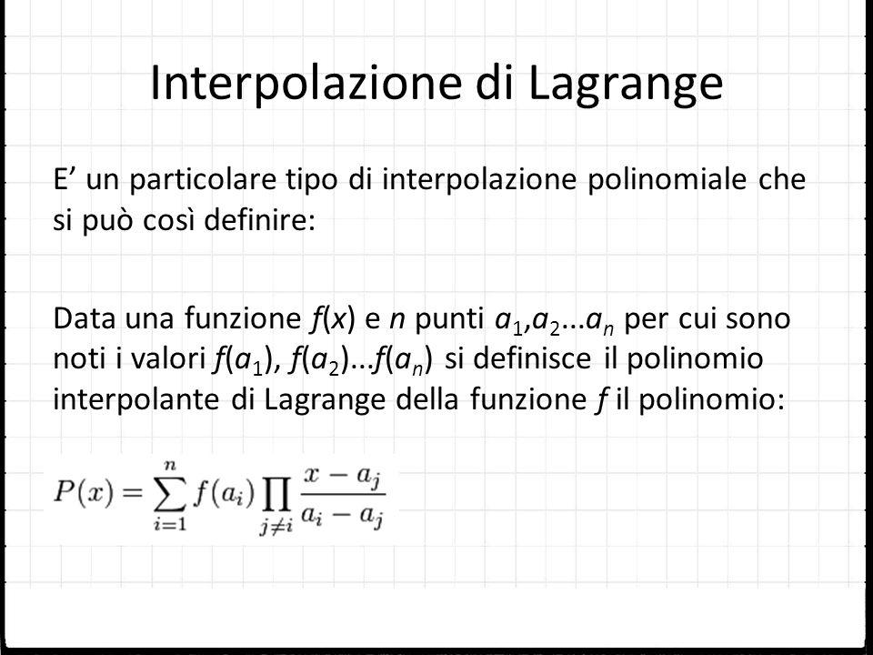 Interpolazione di Lagrange E un particolare tipo di interpolazione polinomiale che si può così definire: Data una funzione f(x) e n punti a 1,a 2...a