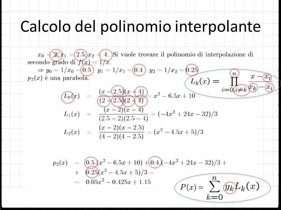 Calcolo del polinomio interpolante