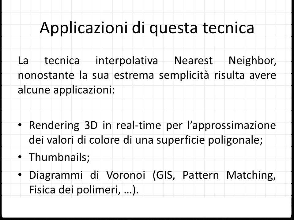 Applicazioni di questa tecnica La tecnica interpolativa Nearest Neighbor, nonostante la sua estrema semplicità risulta avere alcune applicazioni: Rend