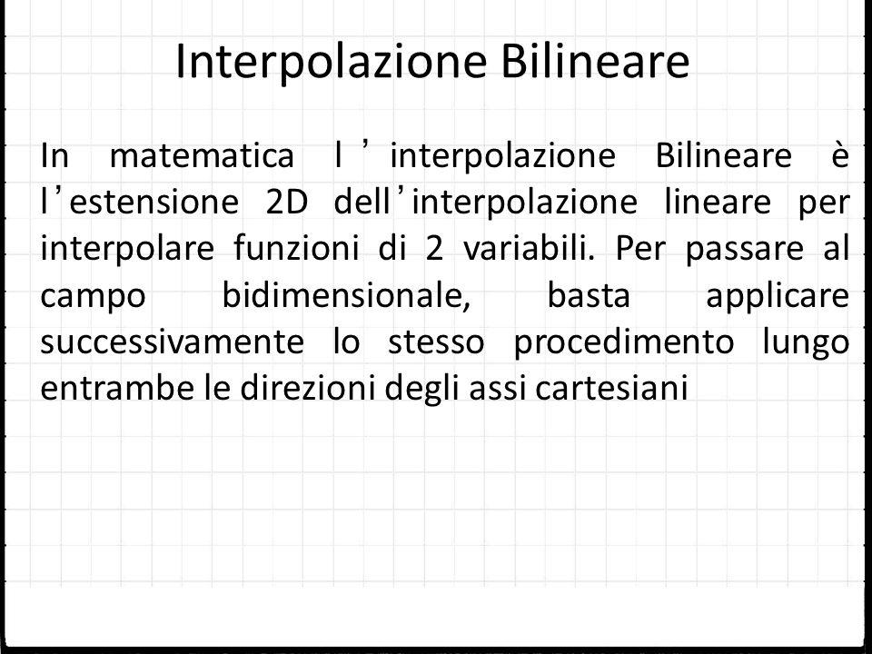 Interpolazione Bilineare In matematica linterpolazione Bilineare è lestensione 2D dellinterpolazione lineare per interpolare funzioni di 2 variabili.