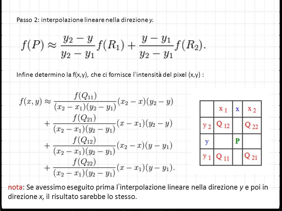 Passo 2: interpolazione lineare nella direzione y. Infine determino la f(x,y), che ci fornisce lintensità del pixel (x,y) : nota: Se avessimo eseguito