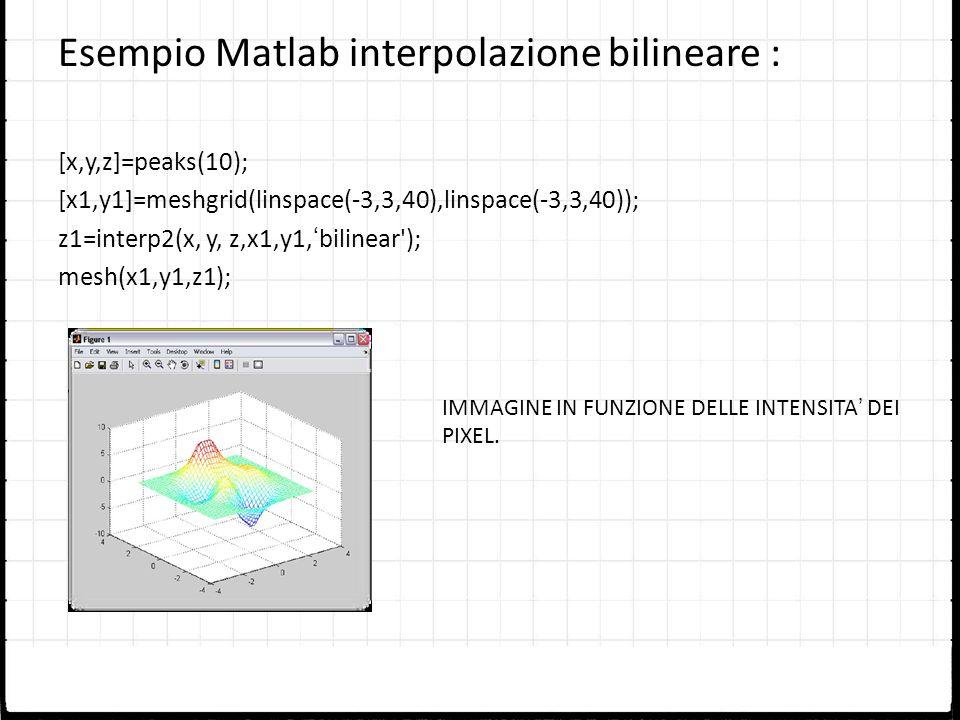 Esempio Matlab interpolazione bilineare : [x,y,z]=peaks(10); [x1,y1]=meshgrid(linspace(-3,3,40),linspace(-3,3,40)); z1=interp2(x, y, z,x1,y1,bilinear'