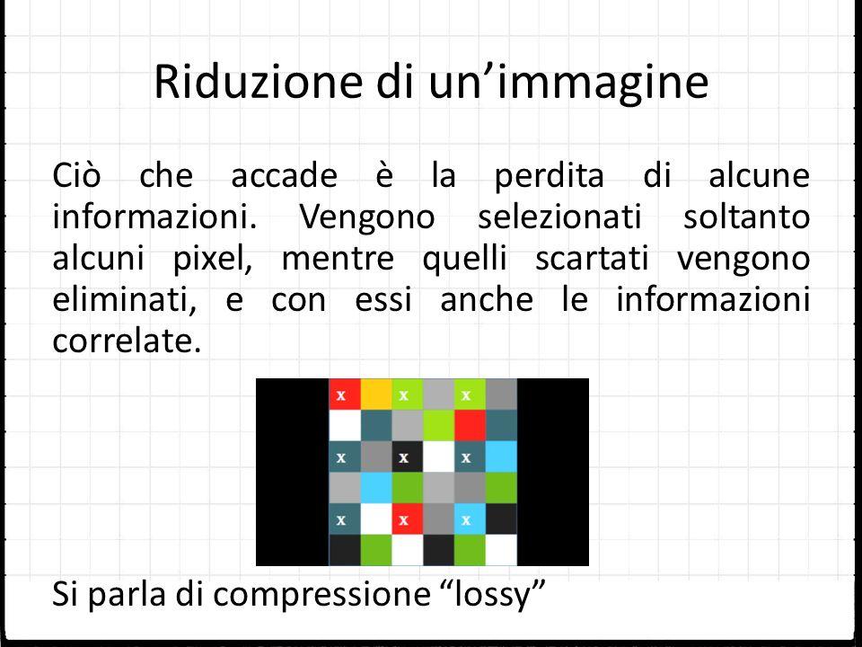 Riduzione di unimmagine Ciò che accade è la perdita di alcune informazioni. Vengono selezionati soltanto alcuni pixel, mentre quelli scartati vengono