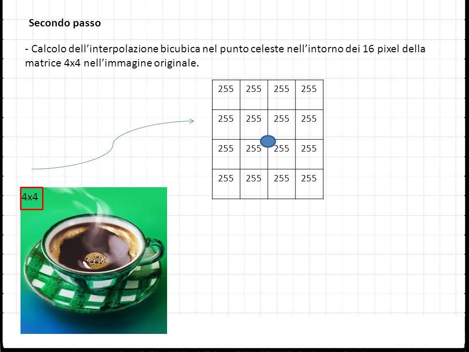 Secondo passo 255 - Calcolo dellinterpolazione bicubica nel punto celeste nellintorno dei 16 pixel della matrice 4x4 nellimmagine originale. 4x4
