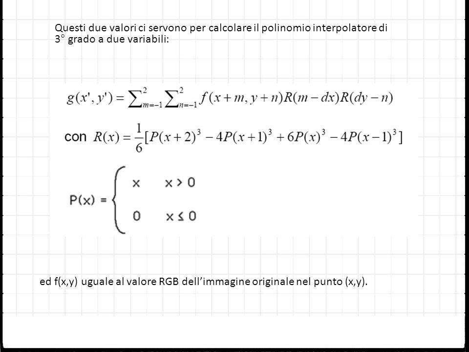 Questi due valori ci servono per calcolare il polinomio interpolatore di 3° grado a due variabili: ed f(x,y) uguale al valore RGB dellimmagine origina