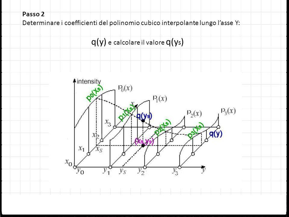 Passo 2 Determinare i coefficienti del polinomio cubico interpolante lungo lasse Y: q(y) e calcolare il valore q(y s )