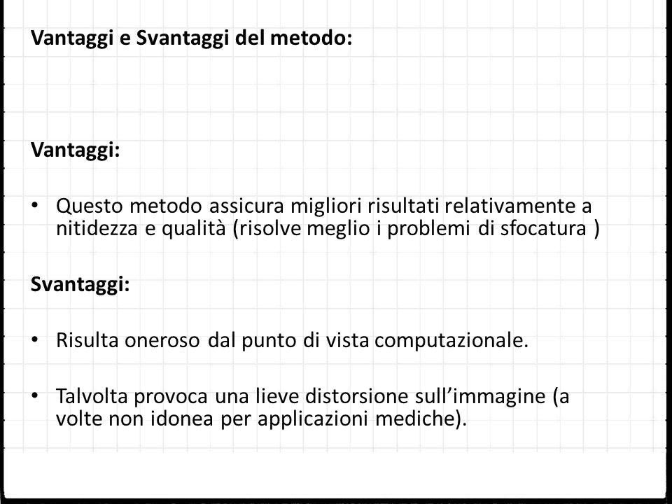 Vantaggi e Svantaggi del metodo: Vantaggi: Questo metodo assicura migliori risultati relativamente a nitidezza e qualità (risolve meglio i problemi di