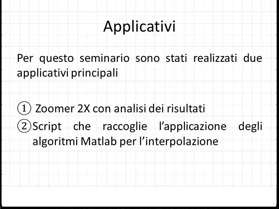 Applicativi Per questo seminario sono stati realizzati due applicativi principali Zoomer 2X con analisi dei risultati Script che raccoglie lapplicazio