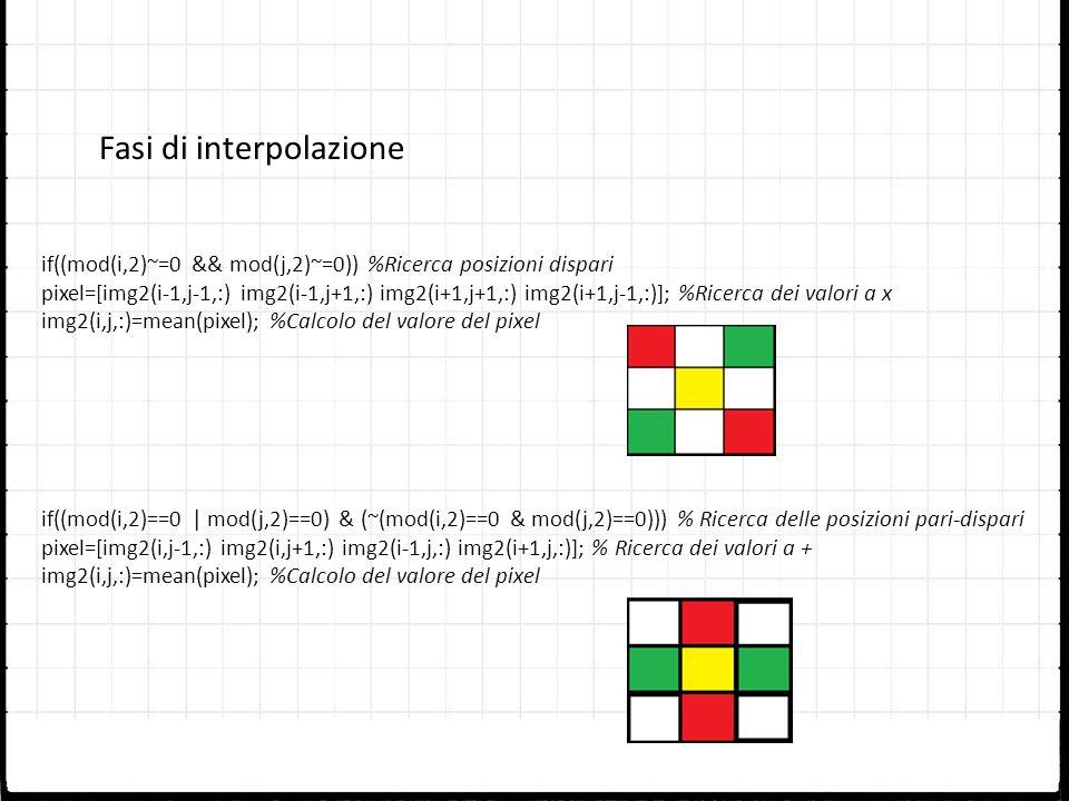 if((mod(i,2)~=0 && mod(j,2)~=0)) %Ricerca posizioni dispari pixel=[img2(i-1,j-1,:) img2(i-1,j+1,:) img2(i+1,j+1,:) img2(i+1,j-1,:)]; %Ricerca dei valo