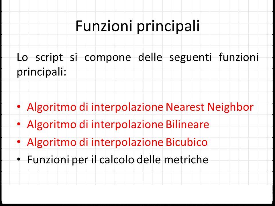 Funzioni principali Lo script si compone delle seguenti funzioni principali: Algoritmo di interpolazione Nearest Neighbor Algoritmo di interpolazione