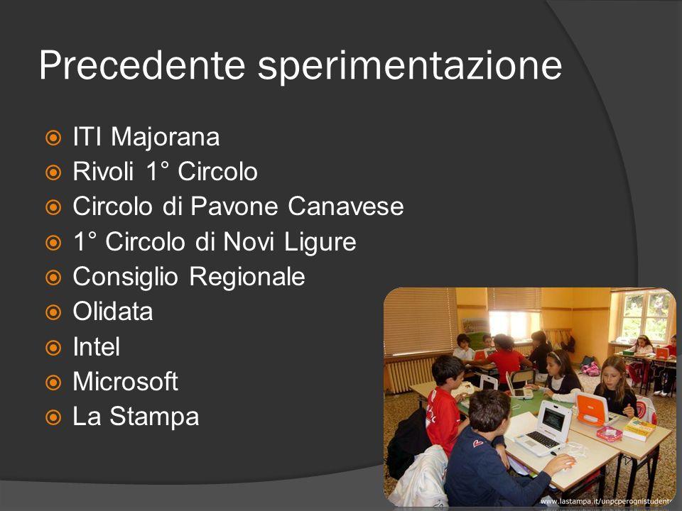 Precedente sperimentazione ITI Majorana Rivoli 1° Circolo Circolo di Pavone Canavese 1° Circolo di Novi Ligure Consiglio Regionale Olidata Intel Micro