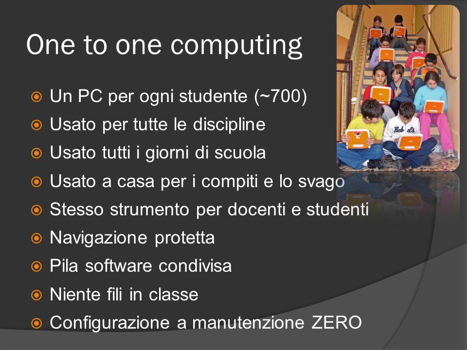 One to one computing Un PC per ogni studente (~700) Usato per tutte le discipline Usato tutti i giorni di scuola Usato a casa per i compiti e lo svago Stesso strumento per docenti e studenti Navigazione protetta Pila software condivisa Niente fili in classe Configurazione a manutenzione ZERO