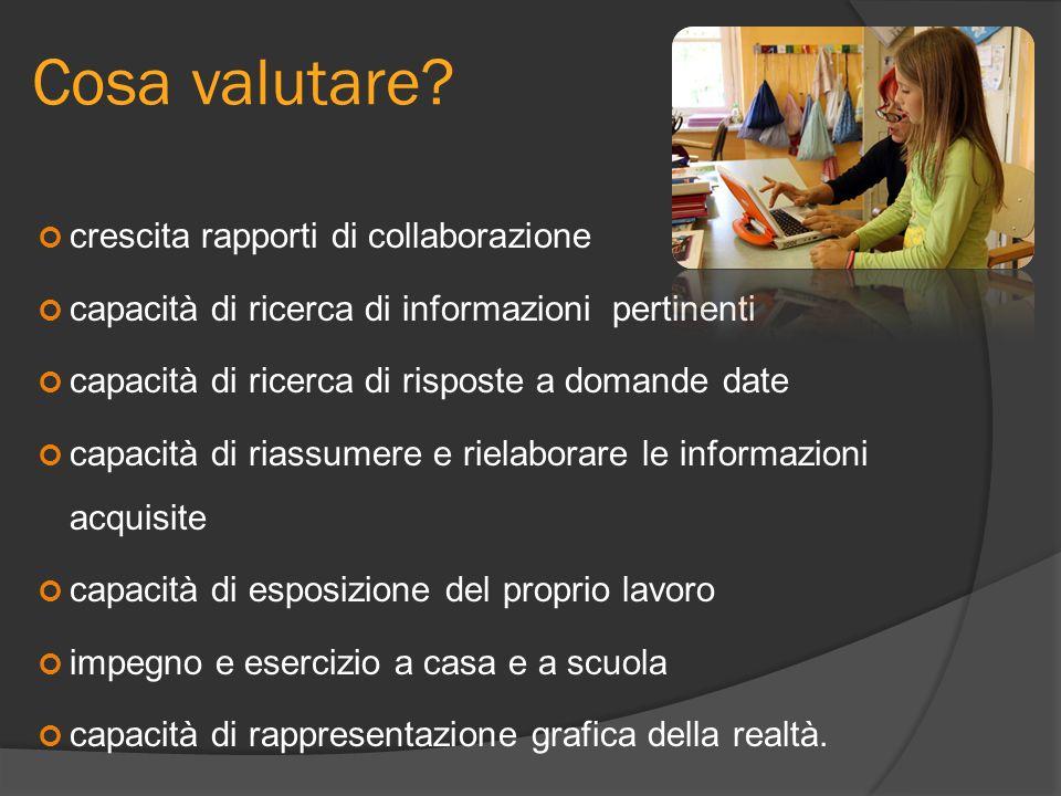 Cosa valutare? crescita rapporti di collaborazione capacità di ricerca di informazioni pertinenti capacità di ricerca di risposte a domande date capac
