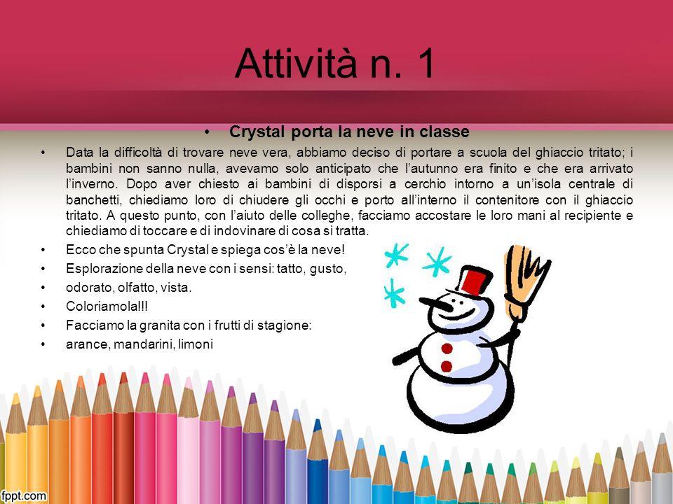 Attività n. 1 Crystal porta la neve in classe Data la difficoltà di trovare neve vera, abbiamo deciso di portare a scuola del ghiaccio tritato; i bamb