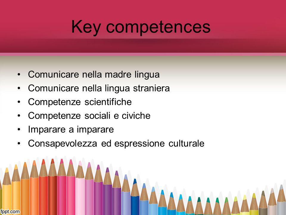 Key competences Comunicare nella madre lingua Comunicare nella lingua straniera Competenze scientifiche Competenze sociali e civiche Imparare a impara