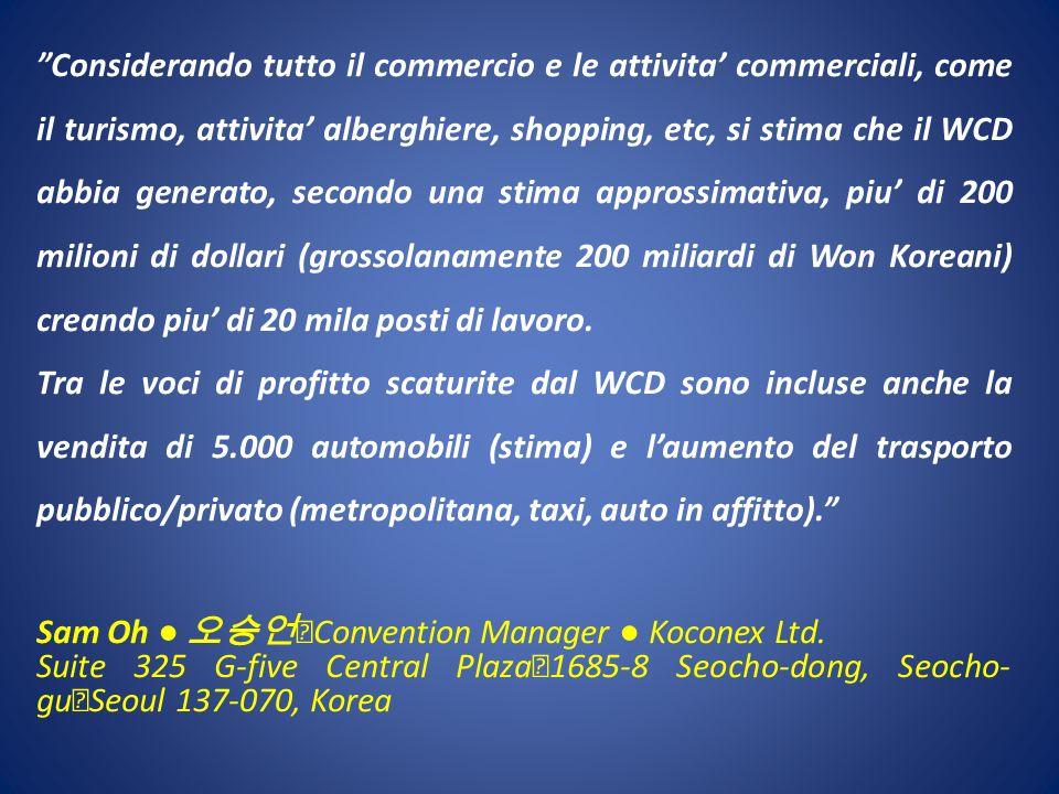 Considerando tutto il commercio e le attivita commerciali, come il turismo, attivita alberghiere, shopping, etc, si stima che il WCD abbia generato, s