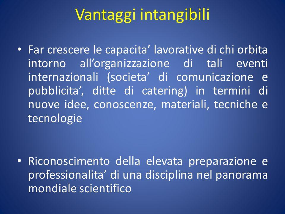Vantaggi intangibili Far crescere le capacita lavorative di chi orbita intorno allorganizzazione di tali eventi internazionali (societa di comunicazio