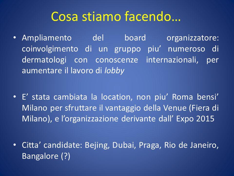 Cosa stiamo facendo… Ampliamento del board organizzatore: coinvolgimento di un gruppo piu numeroso di dermatologi con conoscenze internazionali, per a