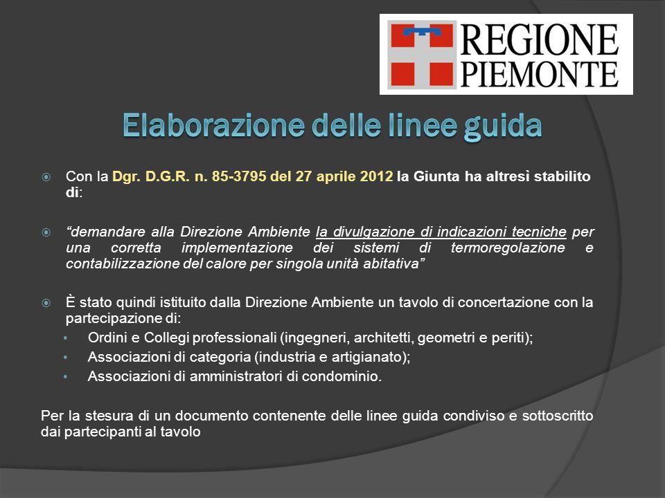 Con la Dgr. D.G.R. n. 85-3795 del 27 aprile 2012 la Giunta ha altresì stabilito di: demandare alla Direzione Ambiente la divulgazione di indicazioni t