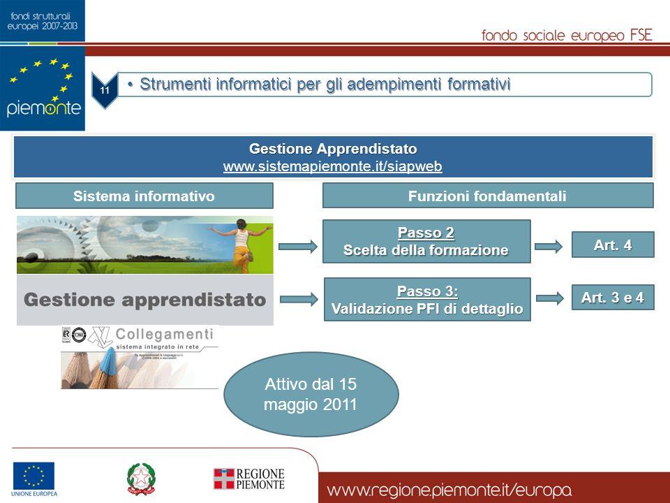 11 Strumenti informatici per gli adempimenti formativiStrumenti informatici per gli adempimenti formativi Gestione Apprendistato www.sistemapiemonte.i