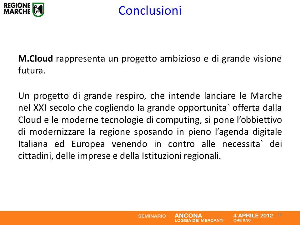 Conclusioni M.Cloud rappresenta un progetto ambizioso e di grande visione futura. Un progetto di grande respiro, che intende lanciare le Marche nel XX