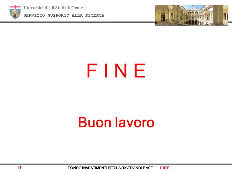 Università degli Studi di Genova SERVIZIO SUPPORTO ALLA RICERCA FONDO INVESTIMENTI PER LA RICERCA DI BASE - FIRB 19 F I N E Buon lavoro