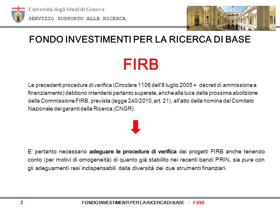 Università degli Studi di Genova SERVIZIO SUPPORTO ALLA RICERCA FONDO INVESTIMENTI PER LA RICERCA DI BASE - FIRB Le precedenti procedure di verifica (Circolare 1106 dell 8 luglio 2005 + decreti di ammissione a finanziamento) debbono intendersi pertanto superate, anche alla luce della prossima abolizione della Commissione FIRB, prevista (legge 240/2010, art.