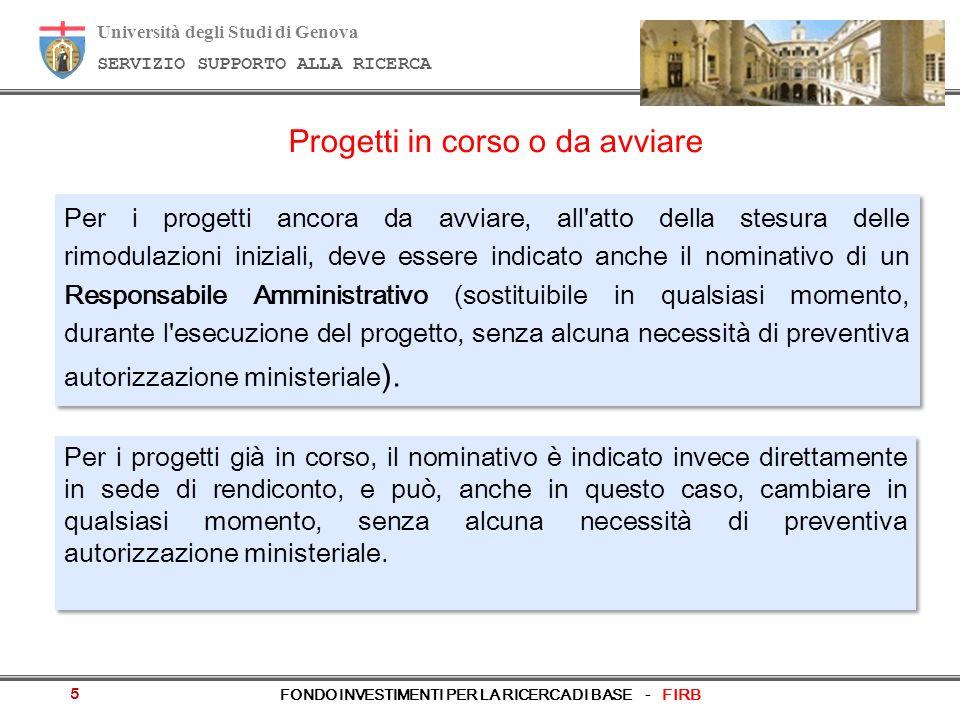 Università degli Studi di Genova SERVIZIO SUPPORTO ALLA RICERCA FONDO INVESTIMENTI PER LA RICERCA DI BASE - FIRB Progetti in corso o da avviare Per i