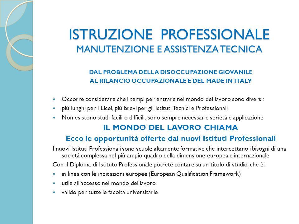 ISTRUZIONE PROFESSIONALE MANUTENZIONE E ASSISTENZA TECNICA DAL PROBLEMA DELLA DISOCCUPAZIONE GIOVANILE AL RILANCIO OCCUPAZIONALE E DEL MADE IN ITALY O