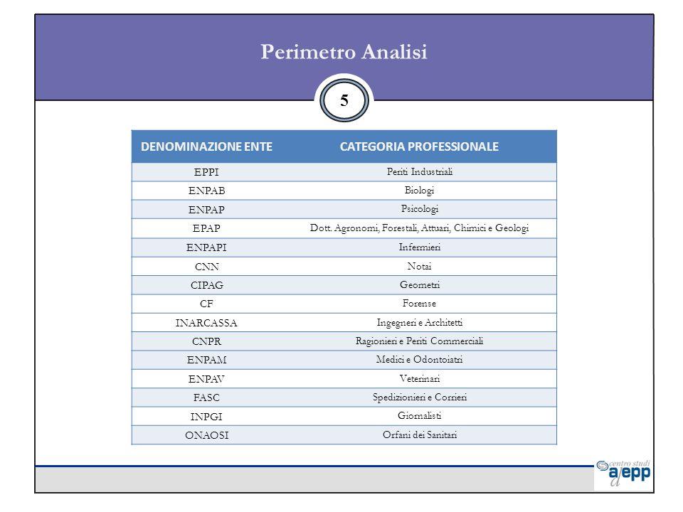 5 Perimetro Analisi DENOMINAZIONE ENTECATEGORIA PROFESSIONALE EPPI Periti Industriali ENPAB Biologi ENPAP Psicologi EPAP Dott.