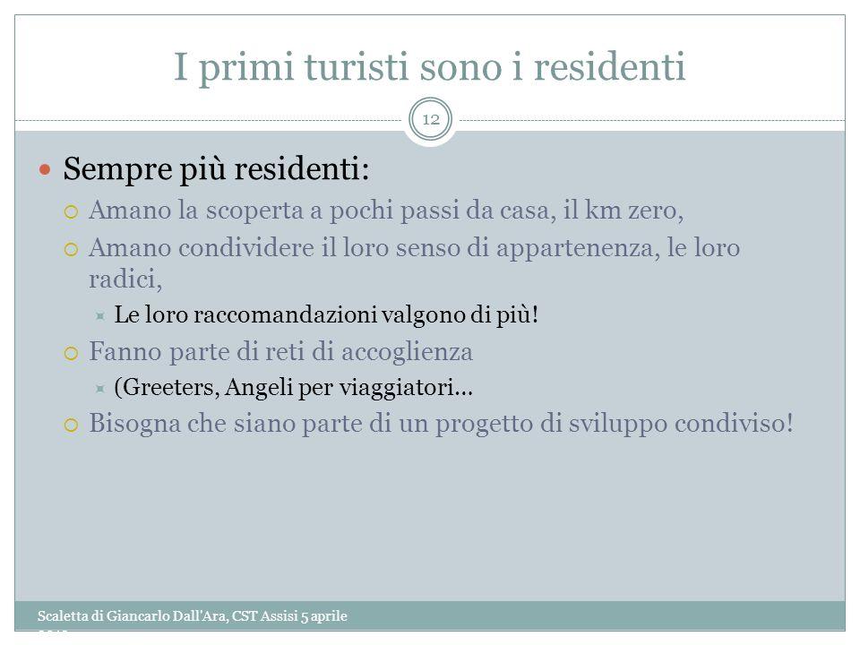 I primi turisti sono i residenti Scaletta di Giancarlo Dall'Ara, CST Assisi 5 aprile 2013 12 Sempre più residenti: Amano la scoperta a pochi passi da