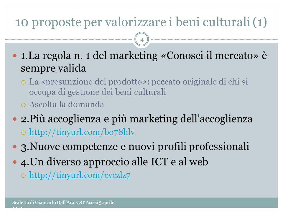 10 proposte per valorizzare i beni culturali (1) Scaletta di Giancarlo Dall'Ara, CST Assisi 5 aprile 2013 4 1.La regola n. 1 del marketing «Conosci il
